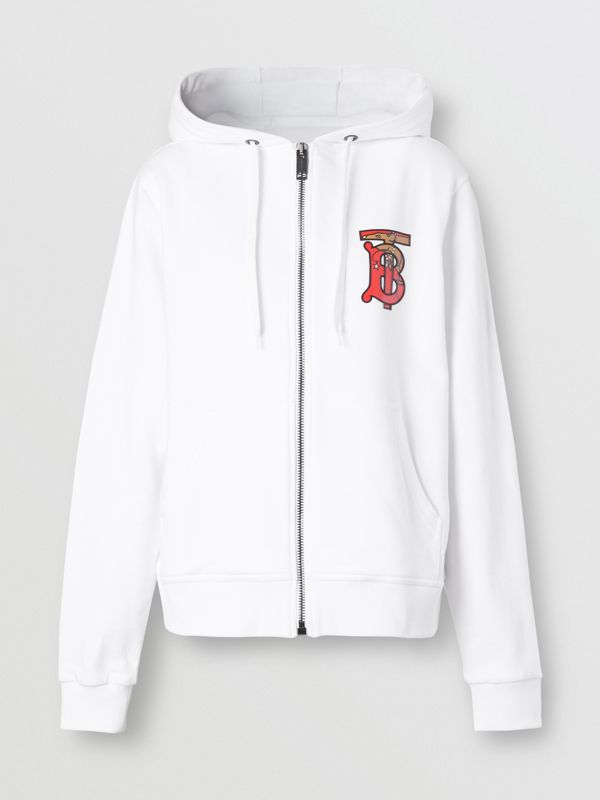 Monogram Motif Cotton Oversized Hooded Top in White - Women | Burberry Canada - cell image 3