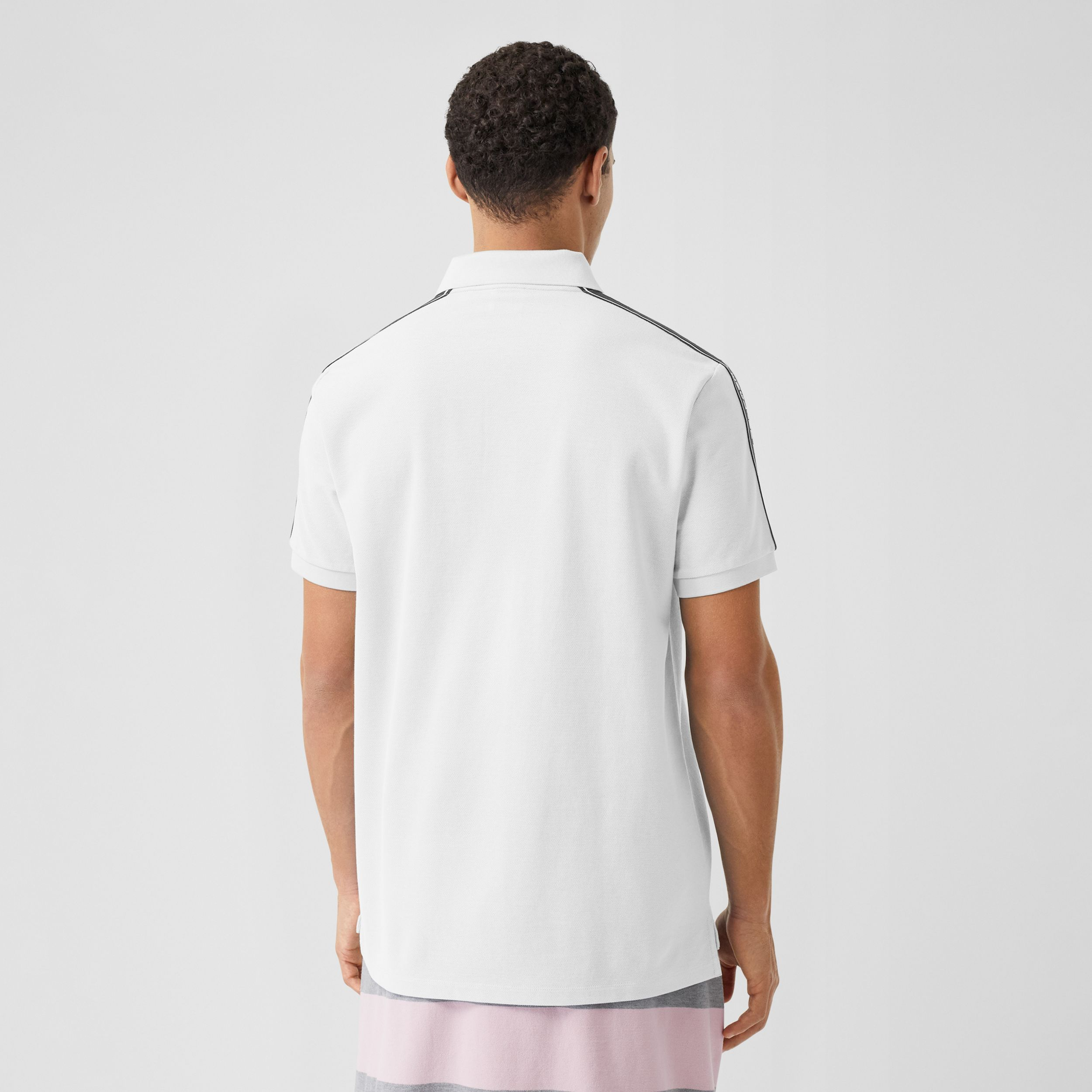 Logo Tape Cotton Piqué Polo Shirt in White - Men | Burberry - 3