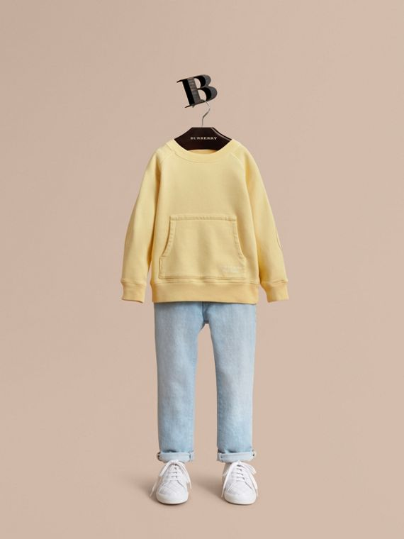 Pigment-dyed Cotton Jersey Sweatshirt in Pale Yellow - Boy | Burberry