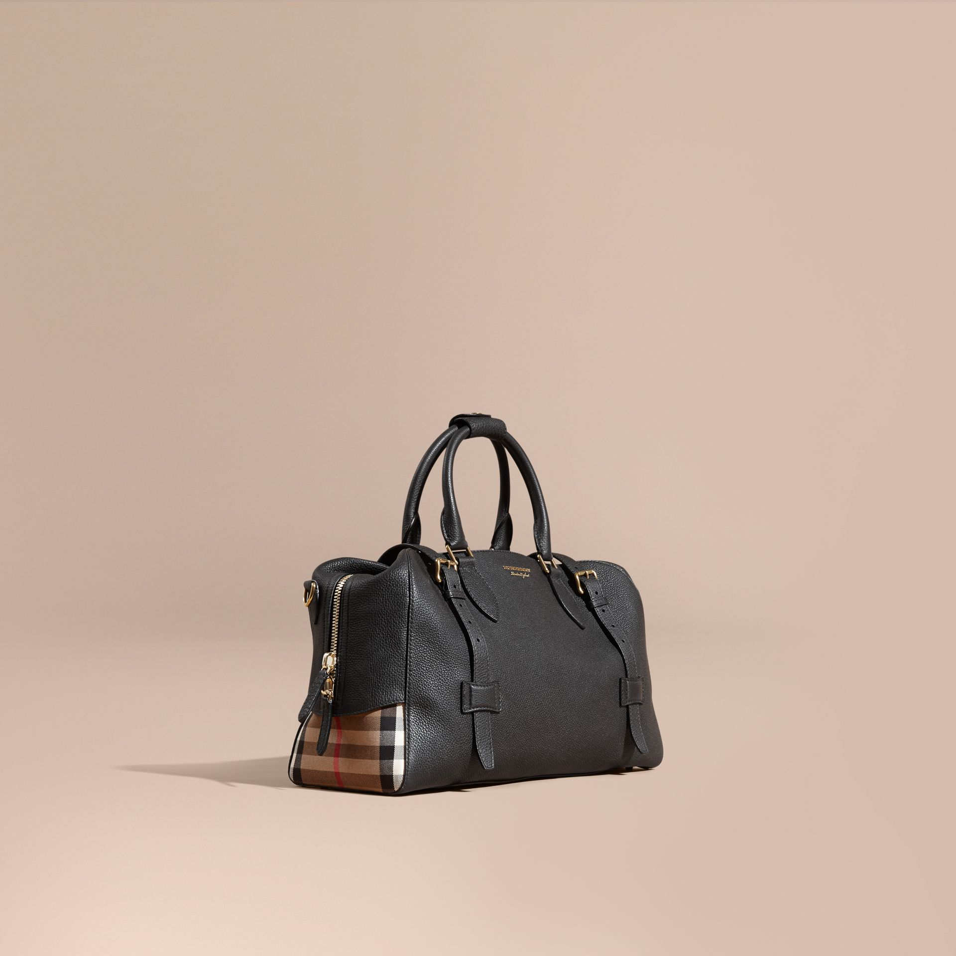 Black Leather Holdall with House Check Detail - gallery image 1