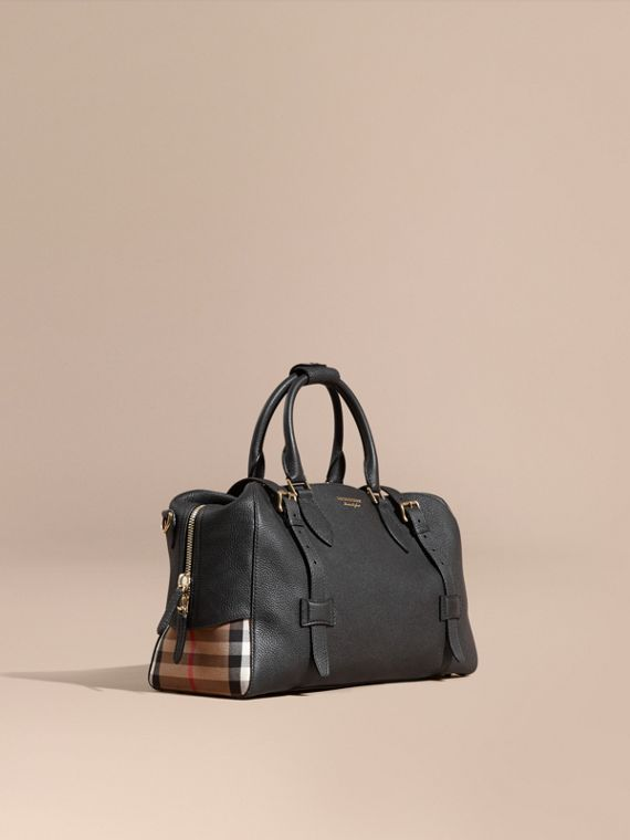 Leather Holdall with House Check Detail
