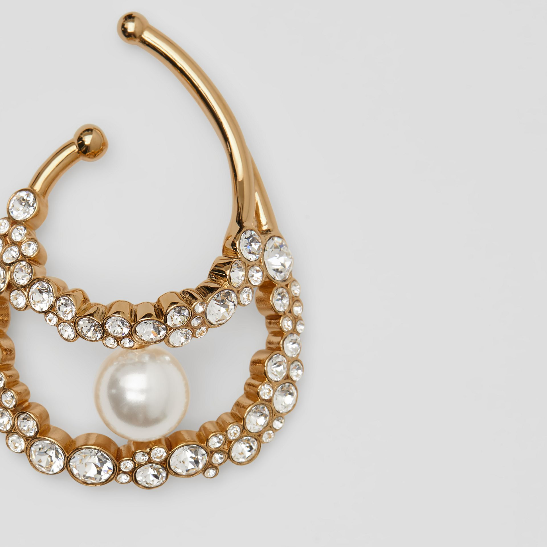 Resin Pearl Detail Crystal Gold-plated Ear Cuff in Light Gold/crystal - Women | Burberry Australia - gallery image 1