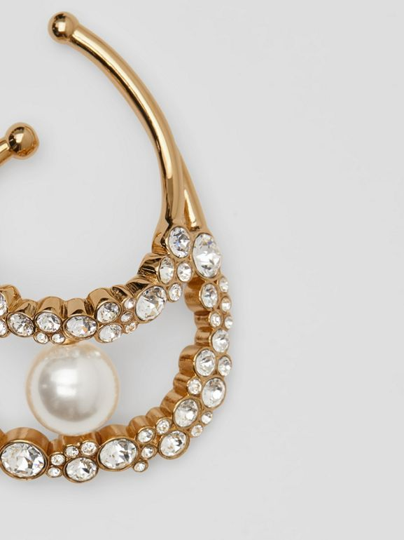 Resin Pearl Detail Crystal Gold-plated Ear Cuff in Light Gold/crystal - Women | Burberry Australia - cell image 1