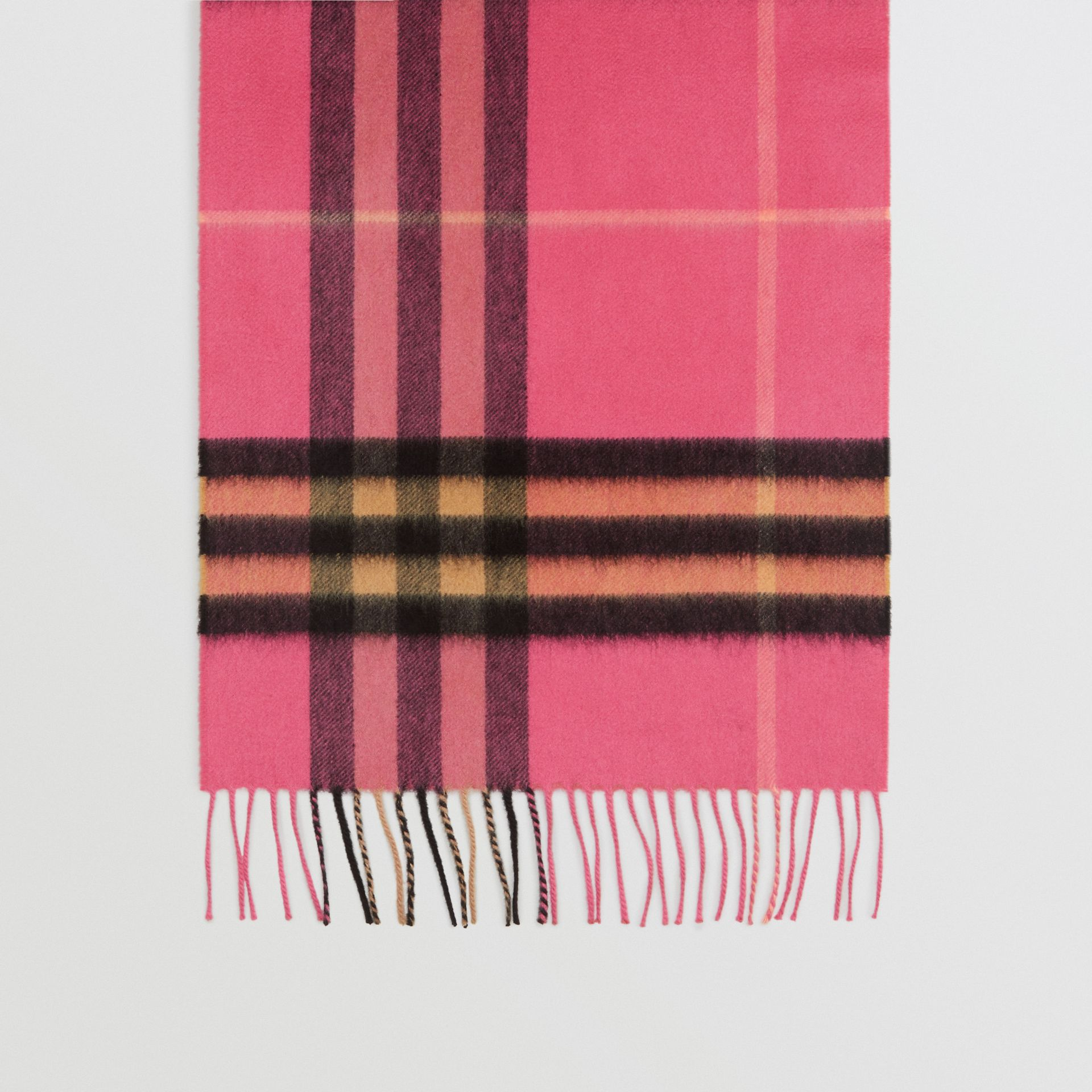 The Classic Check Cashmere Scarf in Bright Rose | Burberry Singapore - gallery image 4