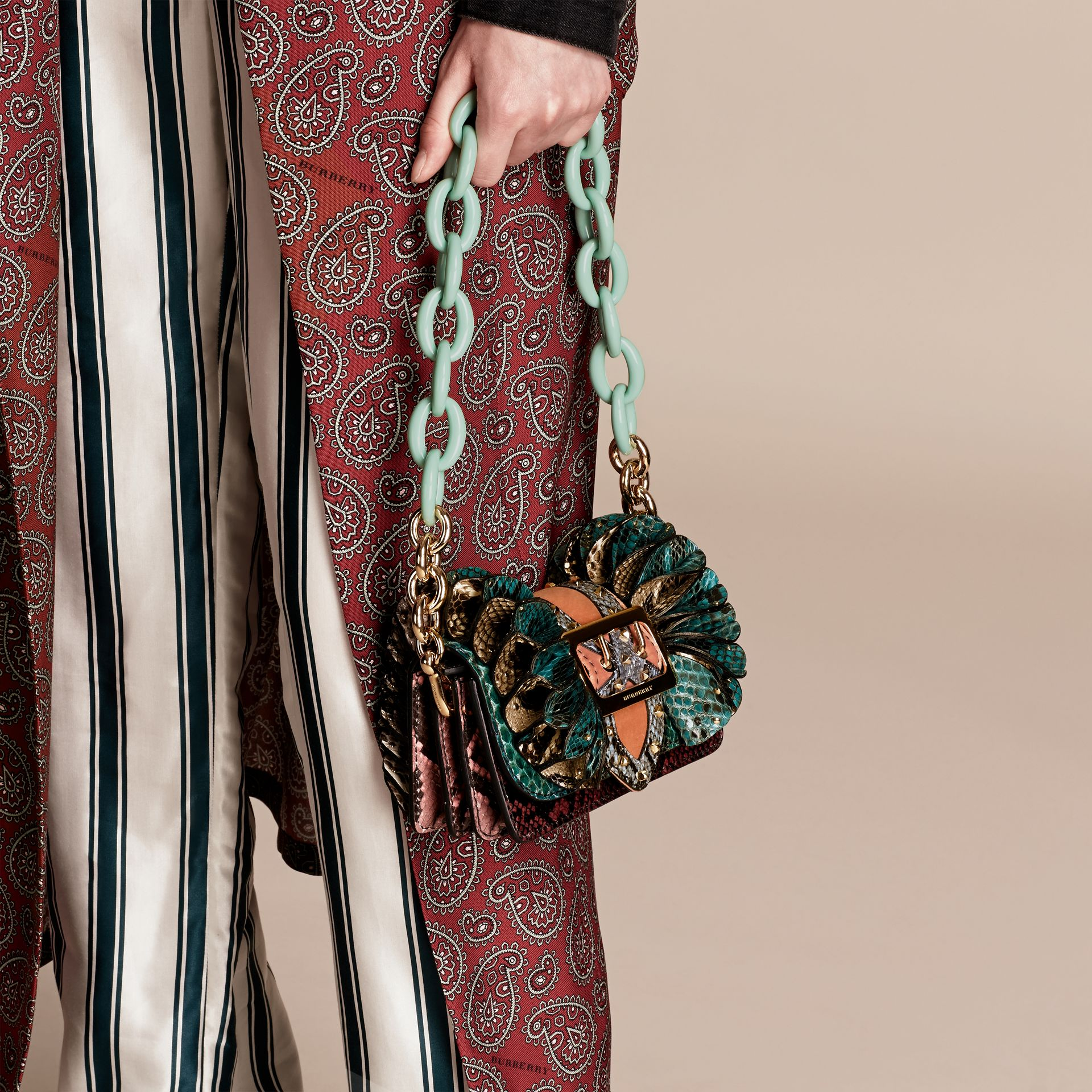 Teal The Ruffle Buckle Bag in Snakeskin and Velvet - gallery image 3