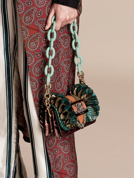 Teal The Ruffle Buckle Bag in Snakeskin and Velvet - cell image 2