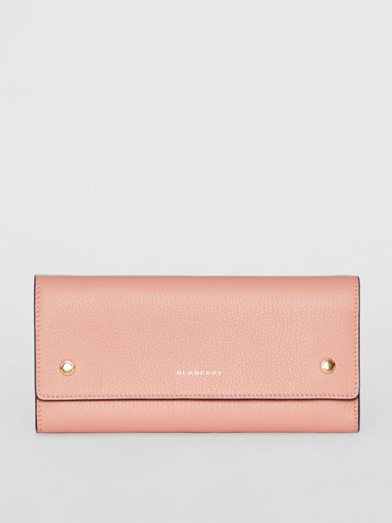 Leather Continental Wallet in Ash Rose