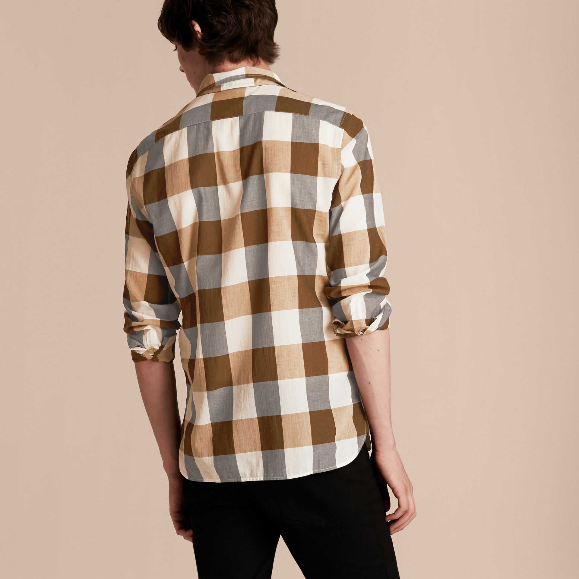 Oversize Gingham Cotton Linen Shirt Camel - gallery image 3