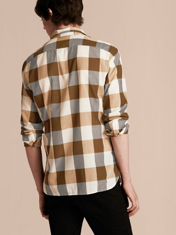 Oversize Gingham Cotton Linen Shirt Camel - cell image 2