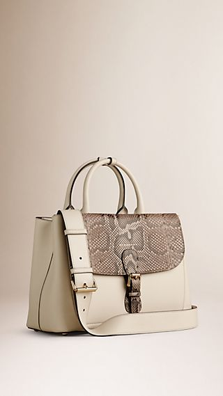 The Medium Saddle Bag in Smooth Leather and Python