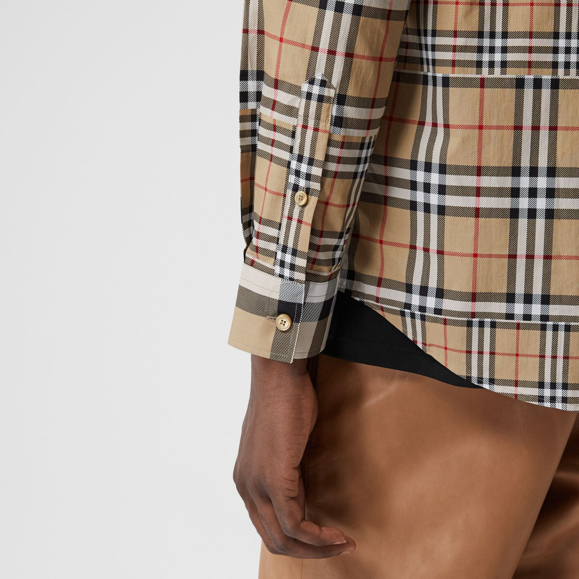 Classic Fit Patchwork Check Cotton Shirt in Archive Beige | Burberry United Kingdom - gallery image 4