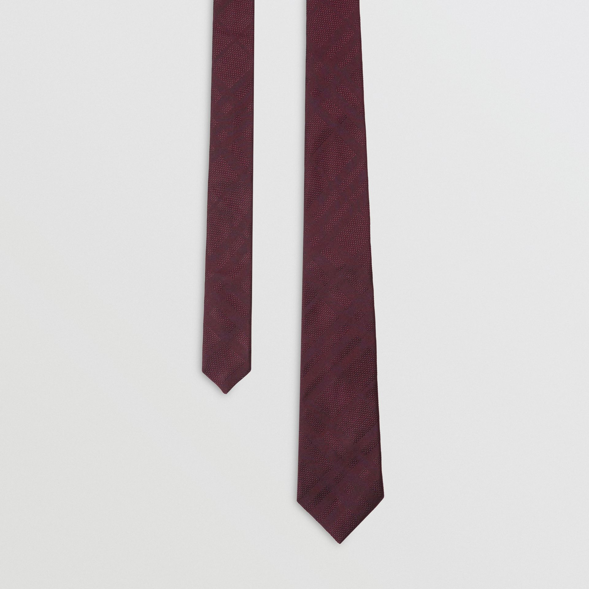 Modern Cut Check Silk Tie in Deep Claret - Men | Burberry - gallery image 0