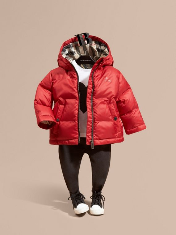 Hooded Down-filled Puffer Coat in Military Red