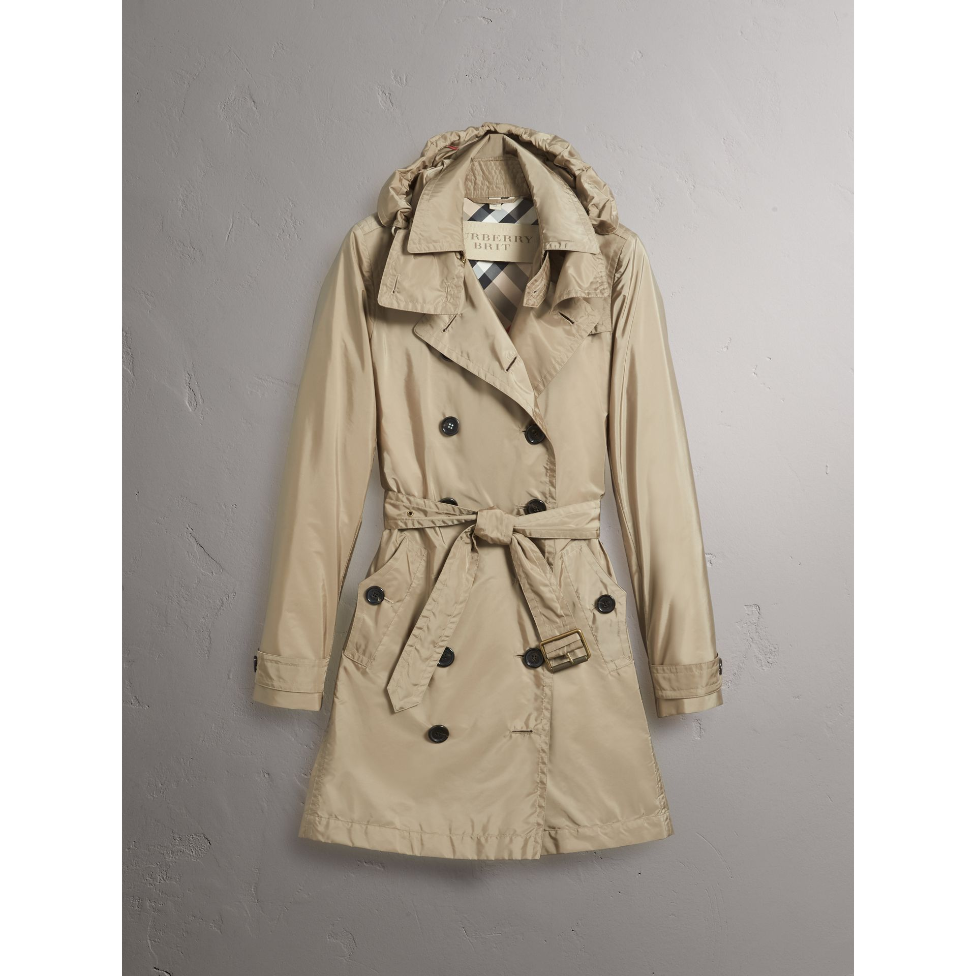 Taffeta Trench Coat with Detachable Hood in Sisal - Women | Burberry United Kingdom - gallery image 4