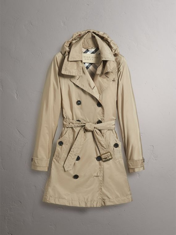 Taffeta Trench Coat with Detachable Hood in Sisal - Women | Burberry United Kingdom - cell image 3
