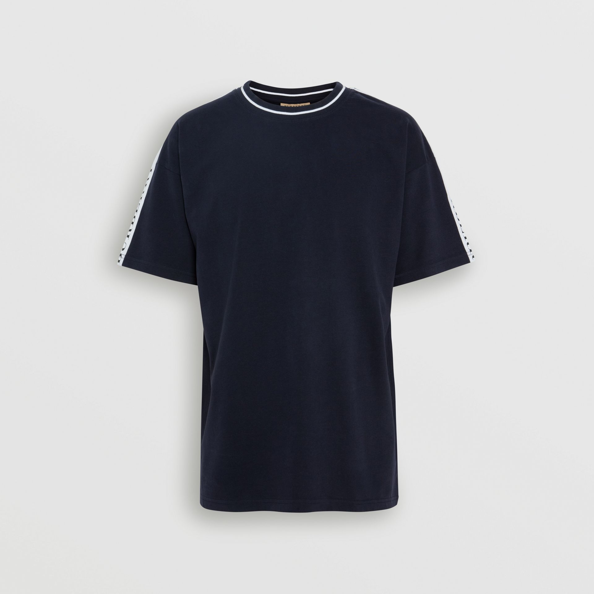 Tape Detail Cotton T-shirt in Dark Navy - Men | Burberry - gallery image 3