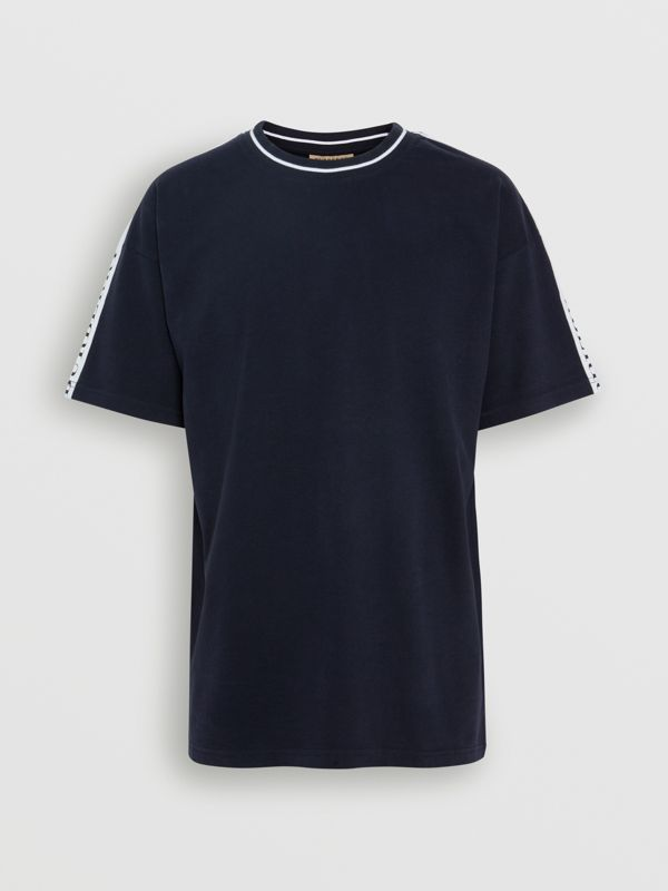 Tape Detail Cotton T-shirt in Dark Navy - Men | Burberry United States - cell image 3