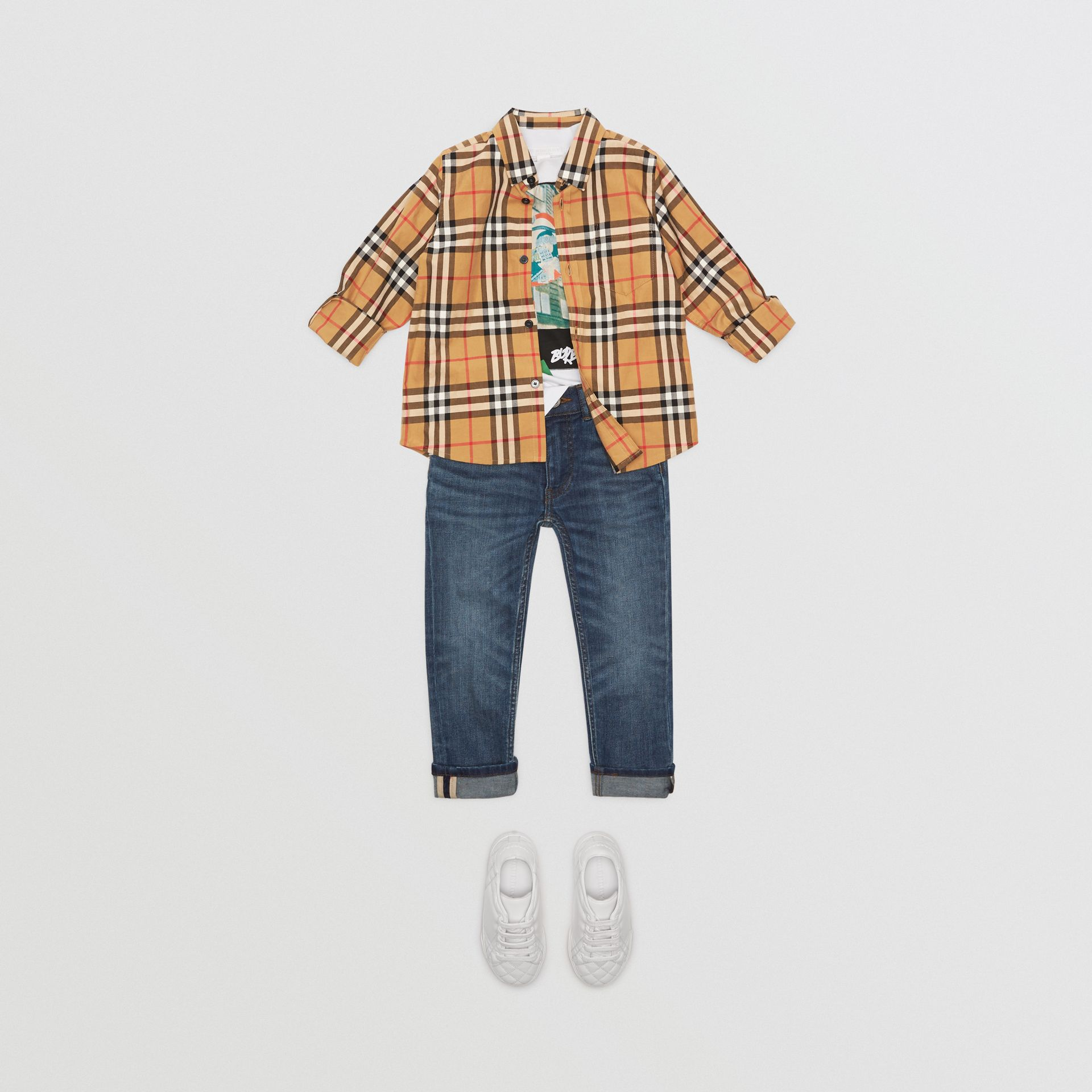 Vintage Check Cotton Shirt in Antique Yellow | Burberry Singapore - gallery image 2
