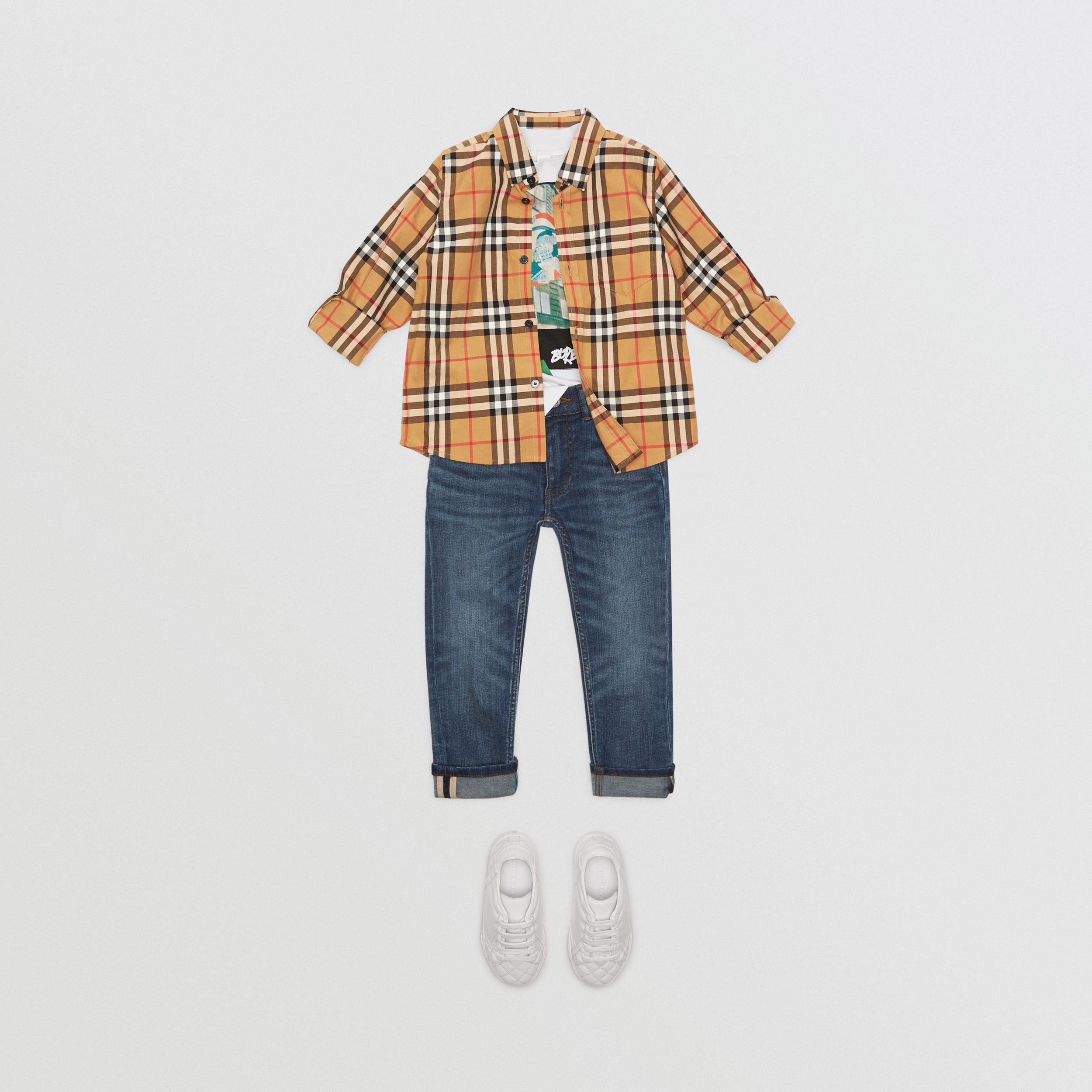 Vintage Check Cotton Shirt in Antique Yellow - Boy | Burberry Canada - 3