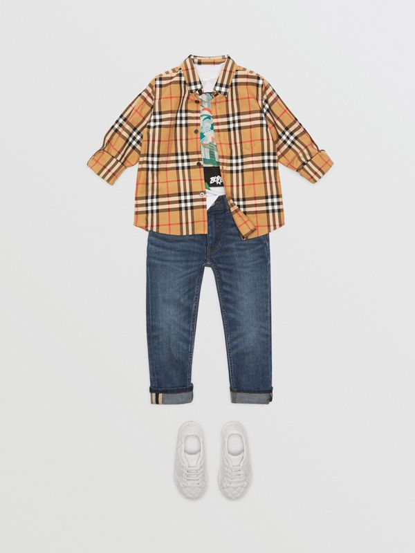 Vintage Check Cotton Shirt in Antique Yellow | Burberry Singapore - cell image 2