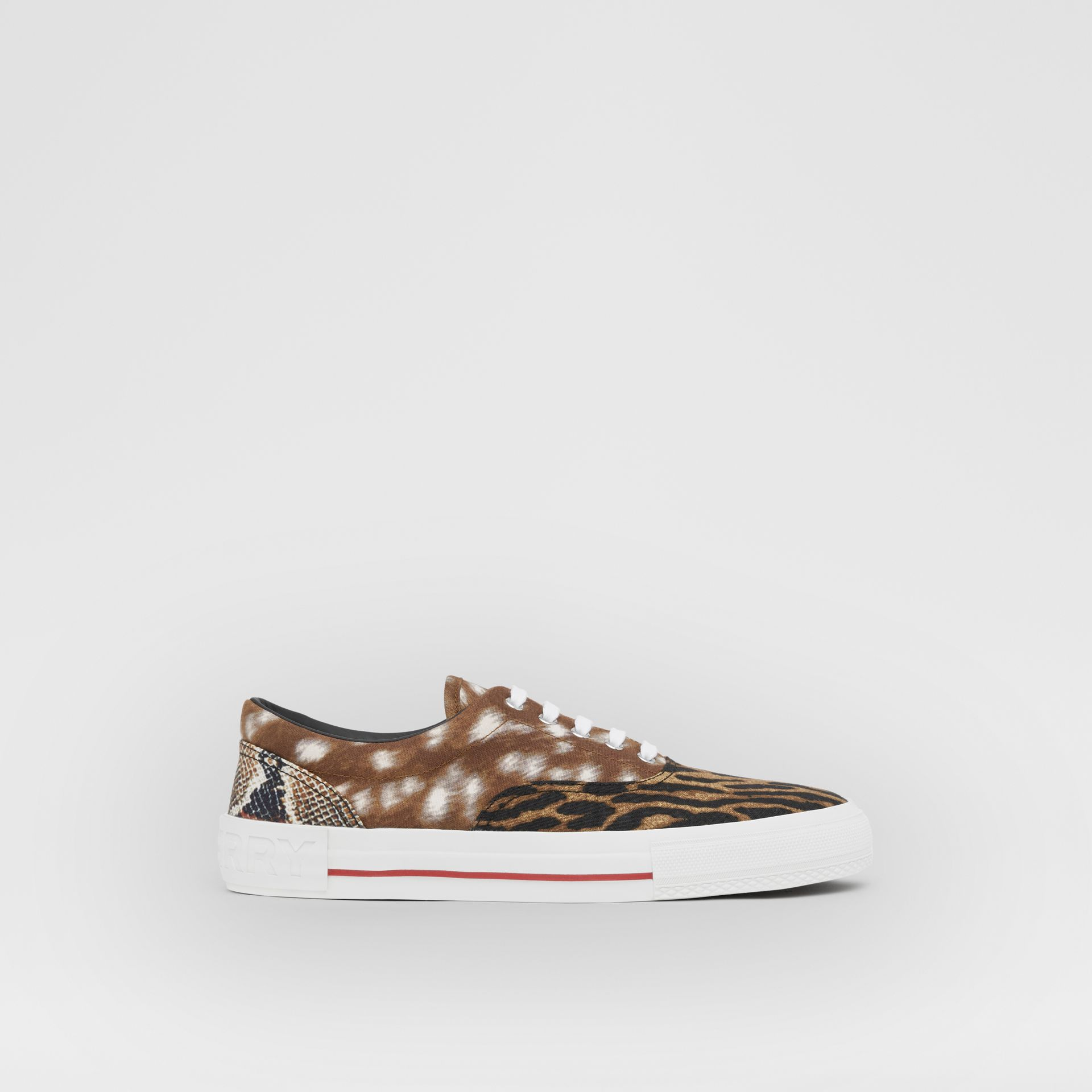 Animal Print Cotton Canvas Sneakers in Honey - Men | Burberry United Kingdom - gallery image 4