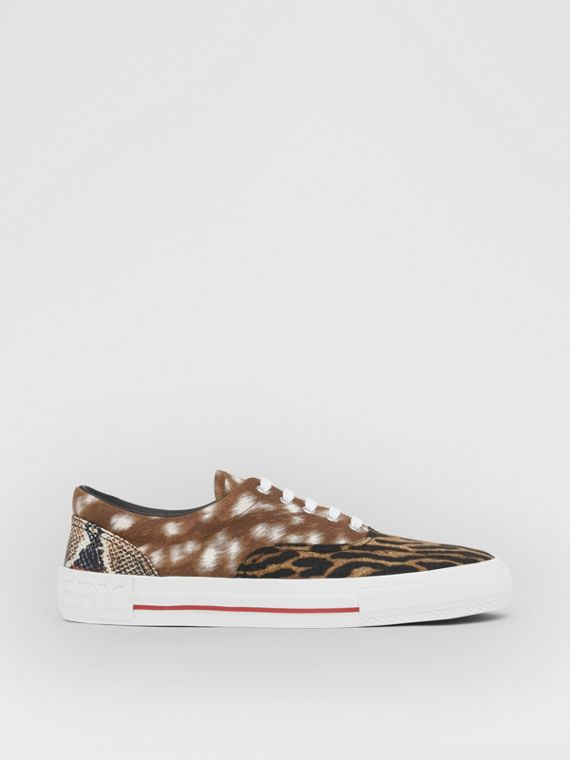Animal Print Cotton Canvas Sneakers in Honey