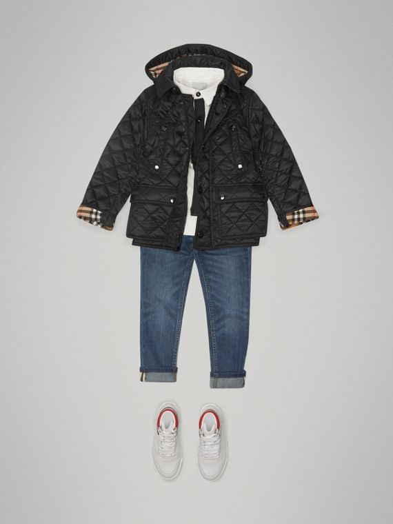 Detachable Hood Diamond Quilted Jacket in Black - Boy | Burberry United States - cell image 2