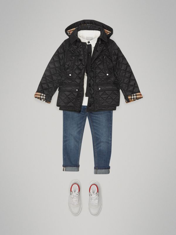 Detachable Hood Diamond Quilted Jacket in Black - Boy | Burberry - cell image 2