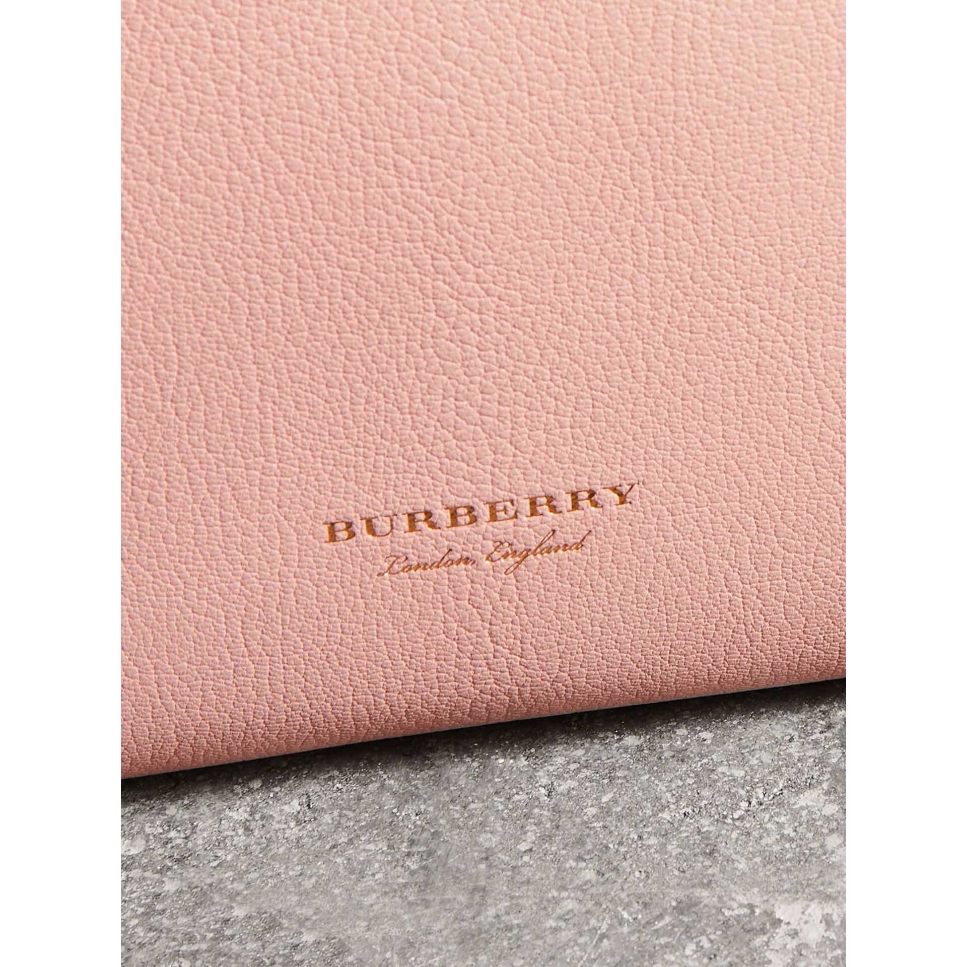 Grainy Leather Wristlet Clutch in Pale Ash Rose - Women | Burberry - gallery image 1