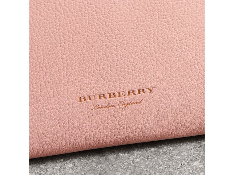Grainy Leather Wristlet Clutch in Pale Ash Rose - Women | Burberry - cell image 1