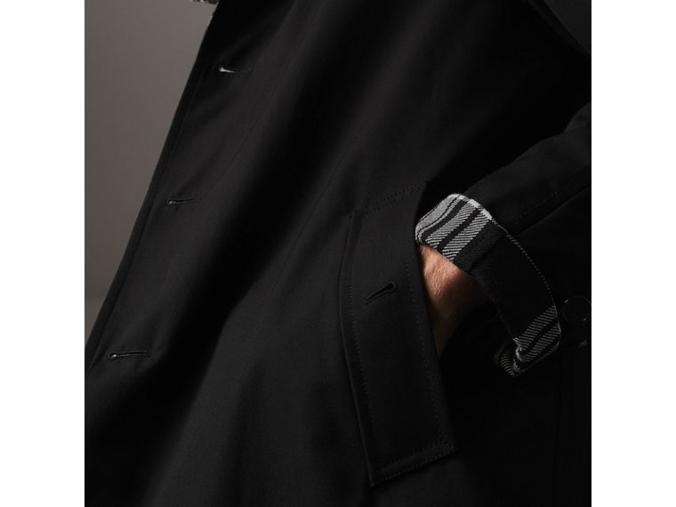 Reversible Gabardine and Tartan Wool Car Coat in Black - Men | Burberry - cell image 4