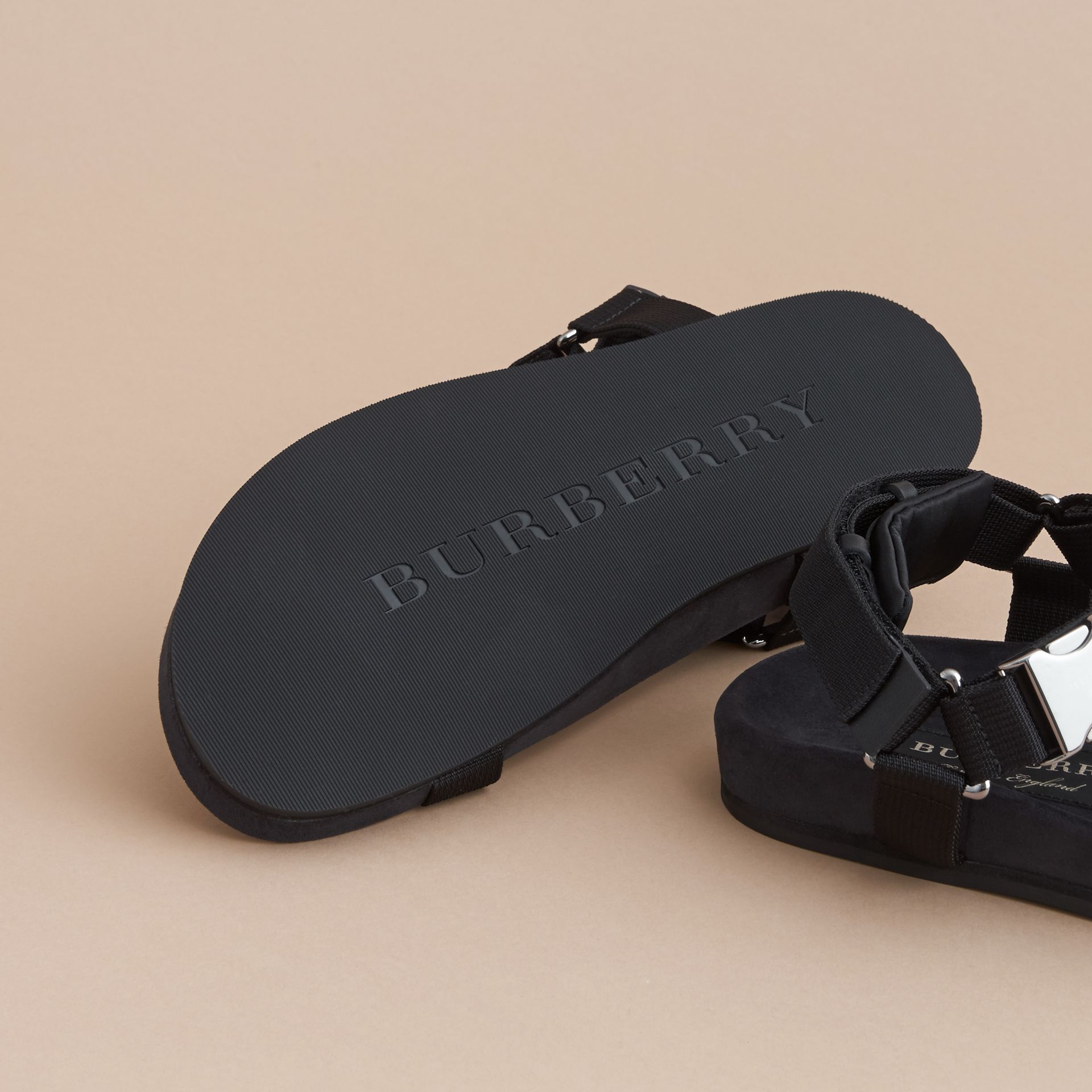 Three-point Strap Ripstop Sandals in Black - Men | Burberry - gallery image 5