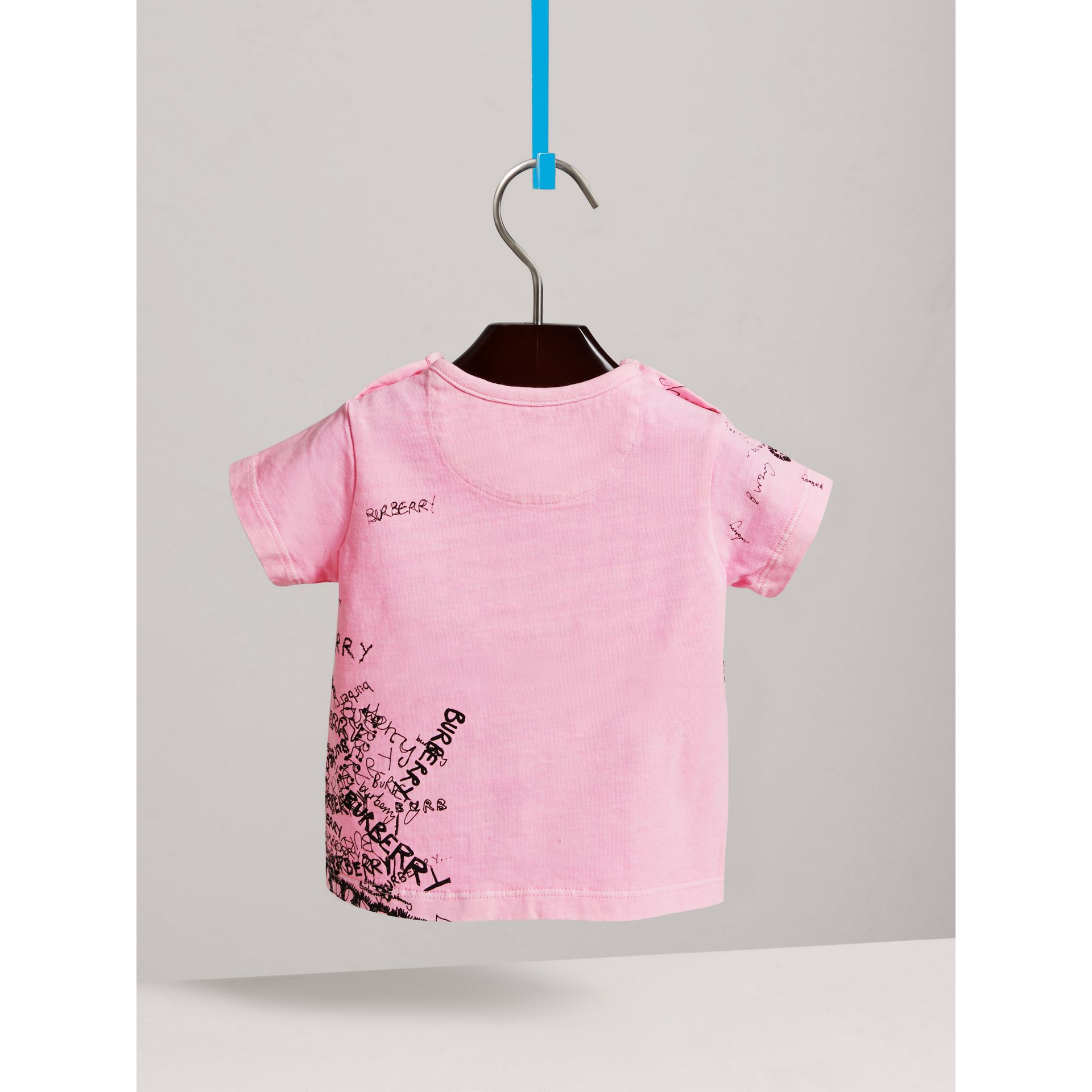 Doodle Print Cotton Jersey T-shirt in Bright Rose | Burberry - gallery image 3