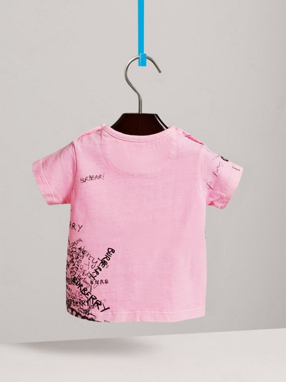 Doodle Print Cotton Jersey T-shirt in Bright Rose | Burberry United Kingdom - cell image 3
