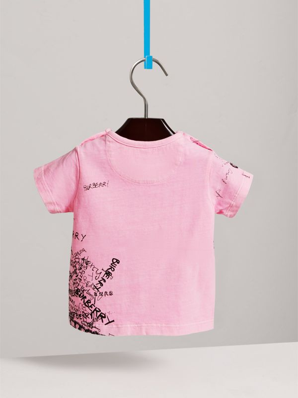 Doodle Print Cotton Jersey T-shirt in Bright Rose | Burberry - cell image 3