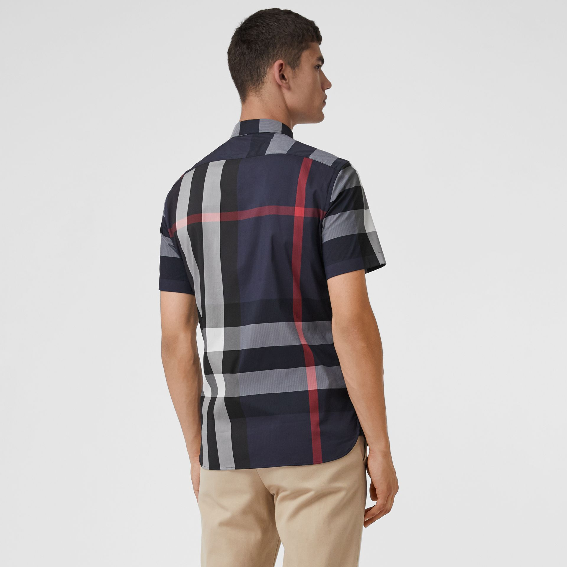 Short-sleeve Check Stretch Cotton Blend Shirt in Navy - Men | Burberry - gallery image 2