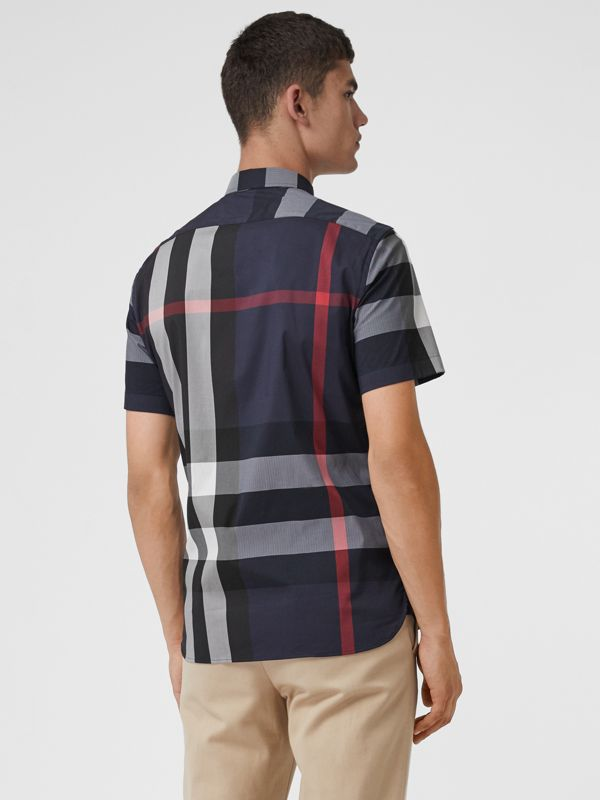 Short-sleeve Check Stretch Cotton Blend Shirt in Navy - Men | Burberry - cell image 2