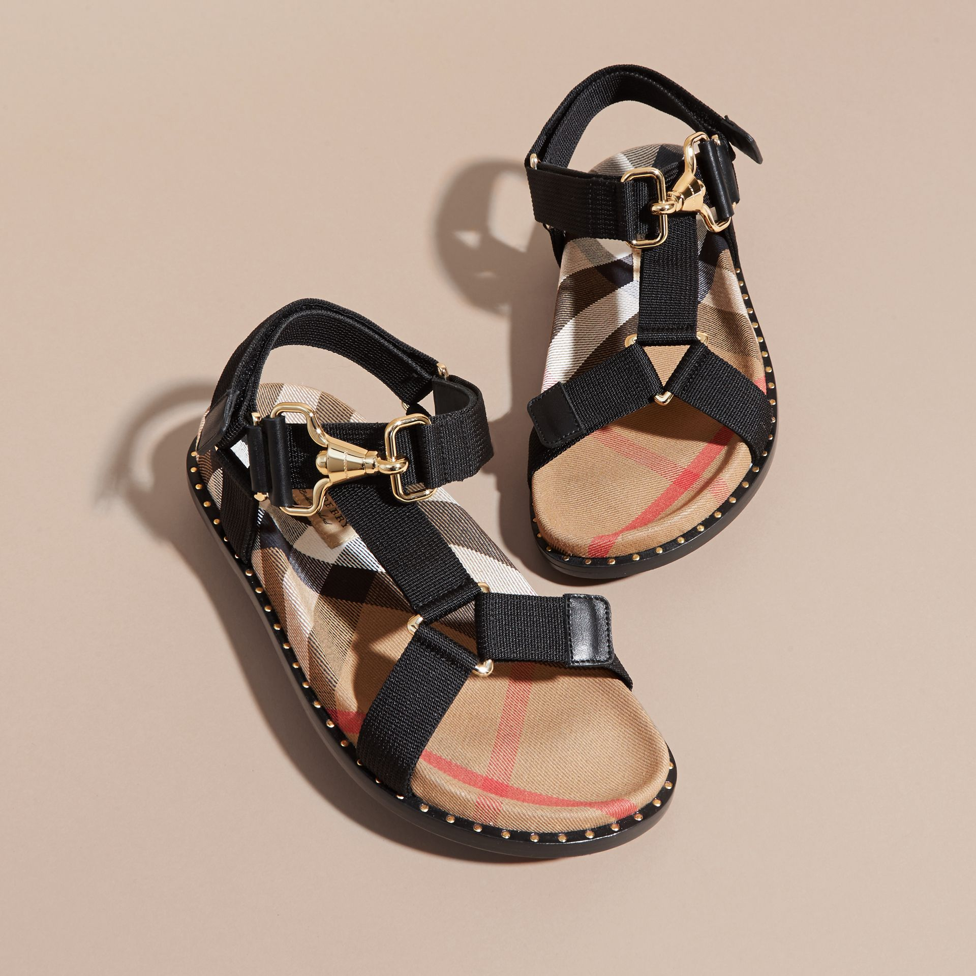 House Check Strappy Sandals with Hardware Detail in Black - Women | Burberry - gallery image 4