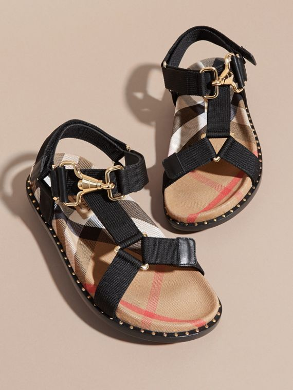 House Check Strappy Sandals with Hardware Detail in Black - Women | Burberry - cell image 3