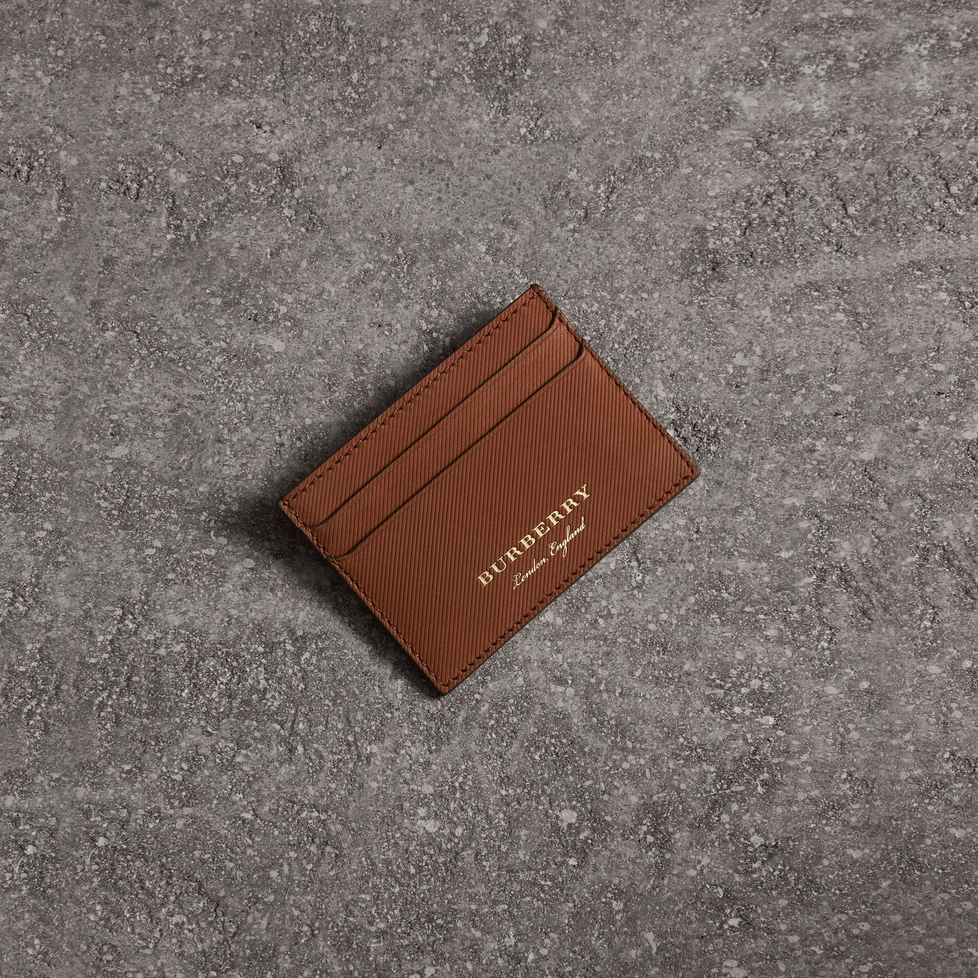 Trench Leather Card Case in Tan | Burberry - gallery image 0