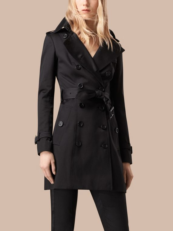 Nero Trench coat in satin di cotone Nero - cell image 3
