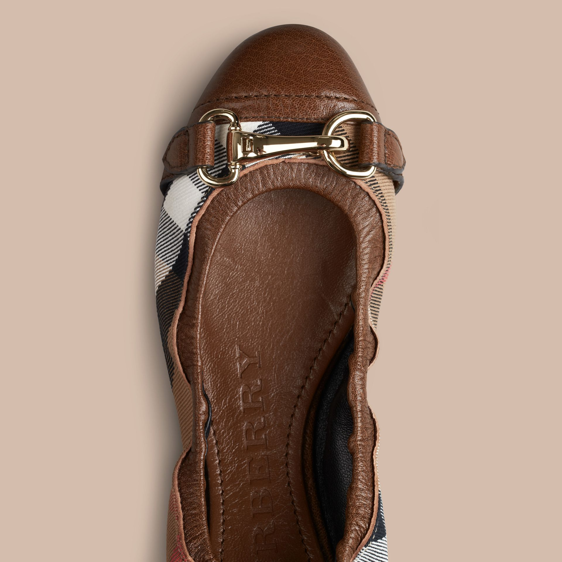 Dark tan Buckle Detail House Check Ballerinas Dark Tan - gallery image 3