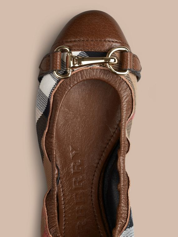 Dark tan Buckle Detail House Check Ballerinas Dark Tan - cell image 2