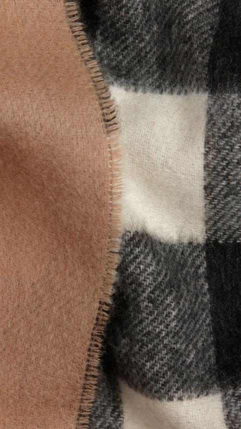 Ivory check Check Wool Cashmere Stole - Image 2