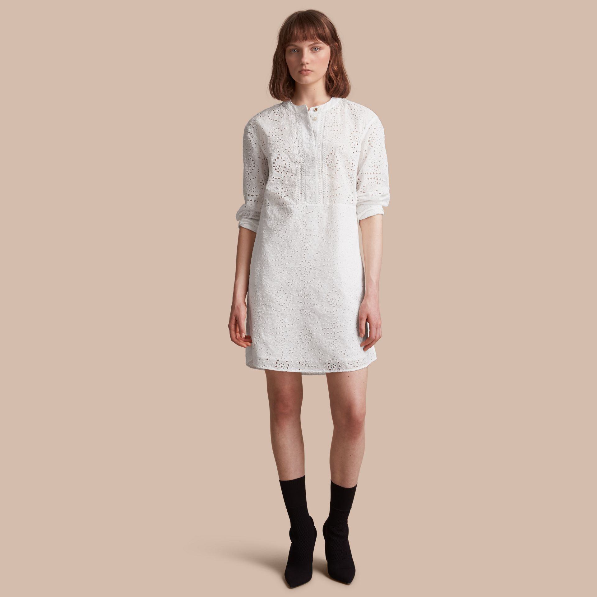 Collarless Broderie Anglaise Shirt Dress - gallery image 1