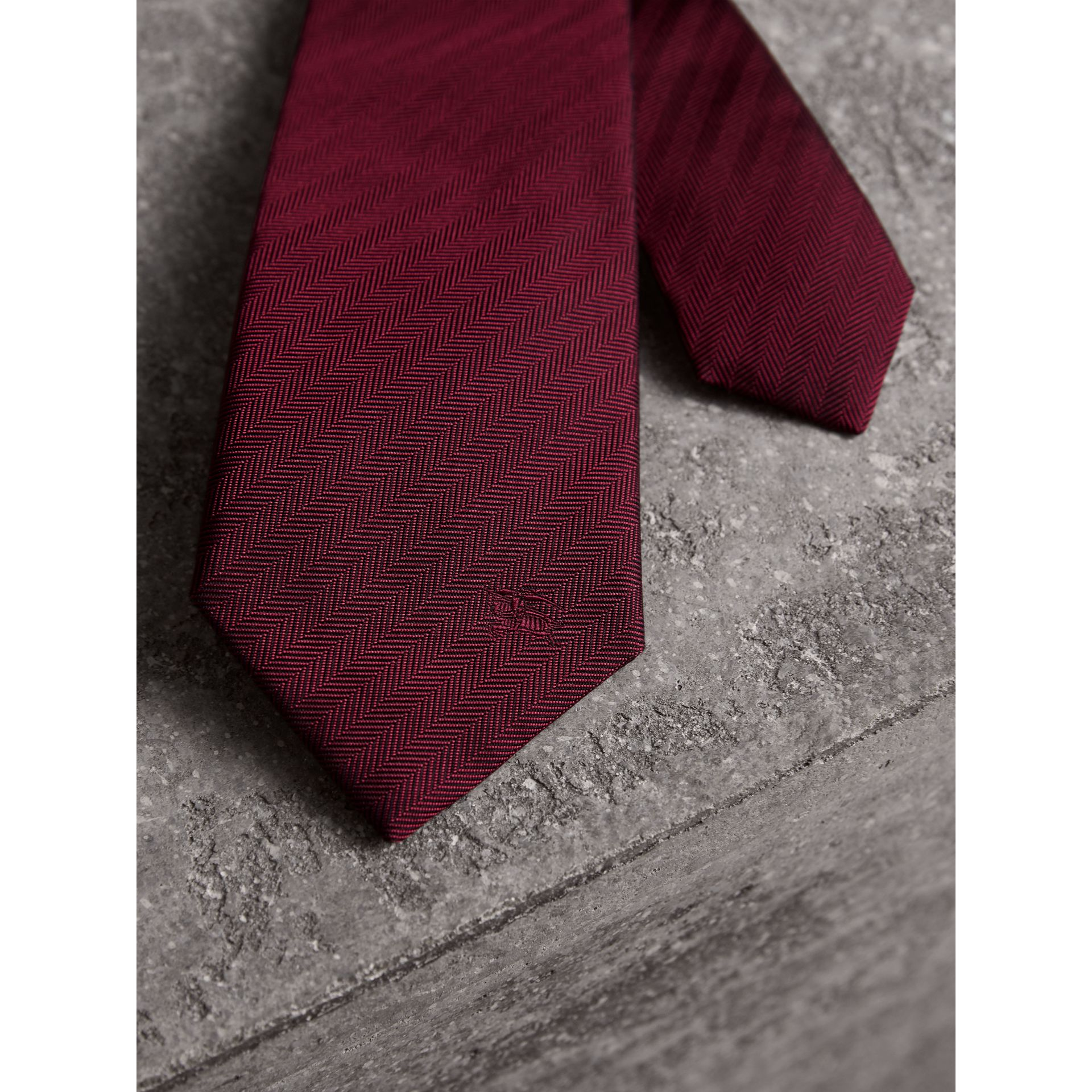 Modern Cut Silk Tie in Parade Red - Men | Burberry United Kingdom - gallery image 2