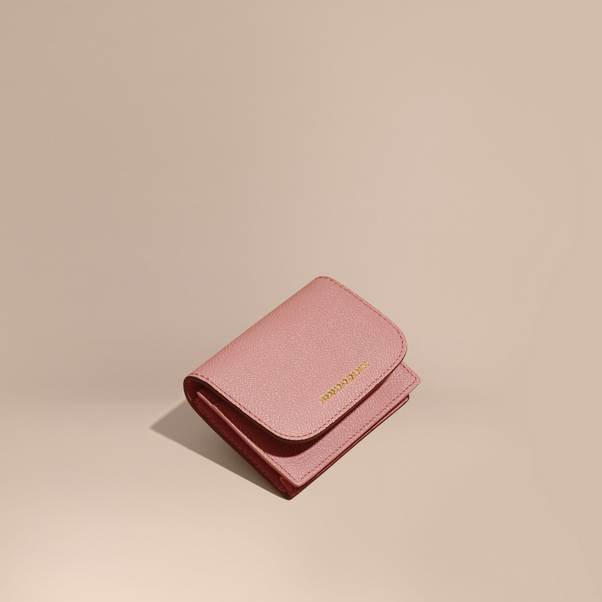 Grainy Leather Card Case in Dusty Pink - gallery image 1