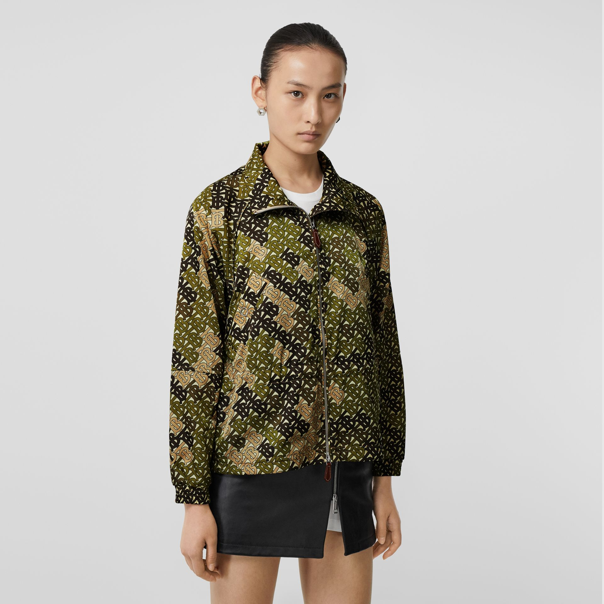 Monogram Print Nylon Funnel Neck Jacket in Khaki Green - Women | Burberry - gallery image 4