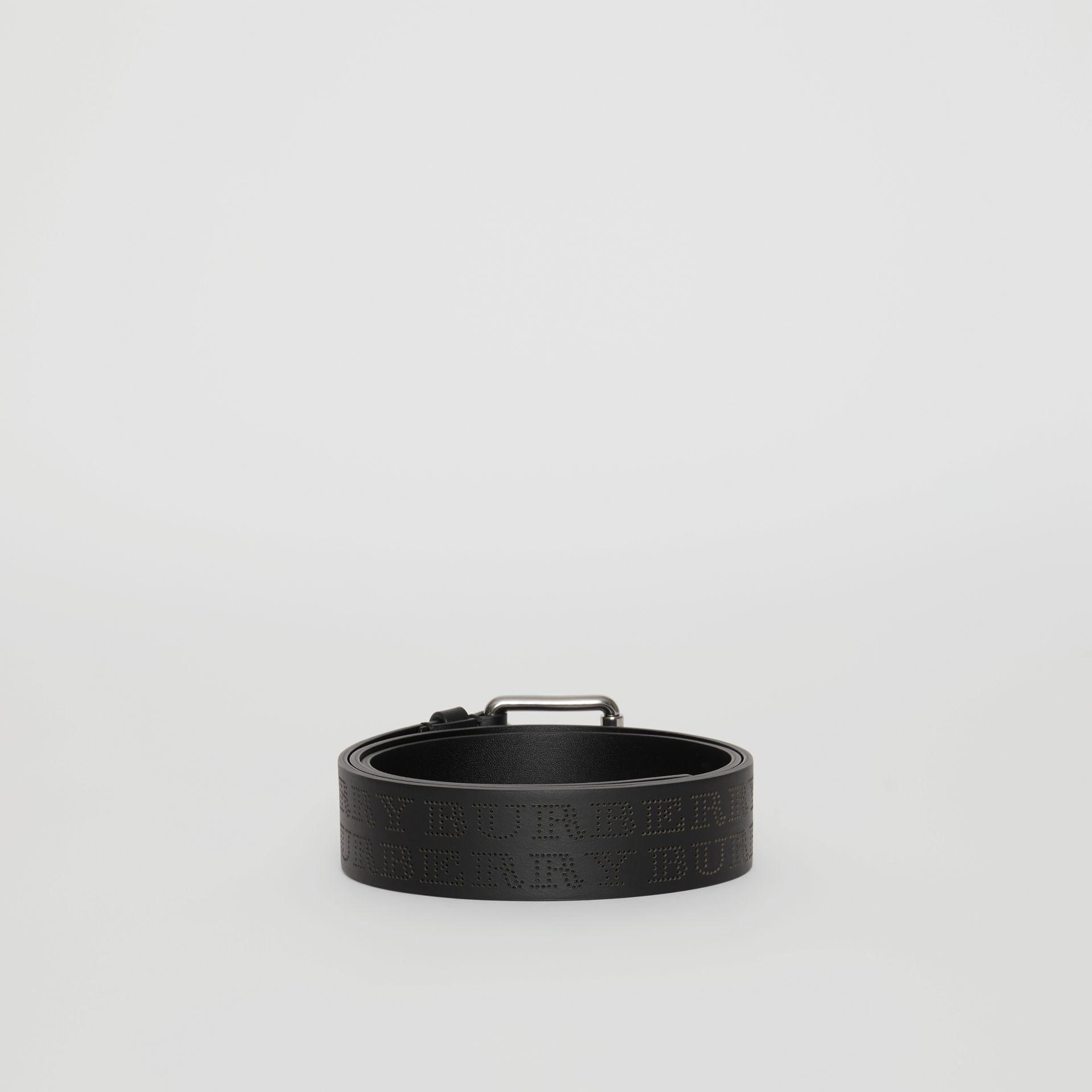 Perforated Logo Leather Belt in Black - Men | Burberry - gallery image 4