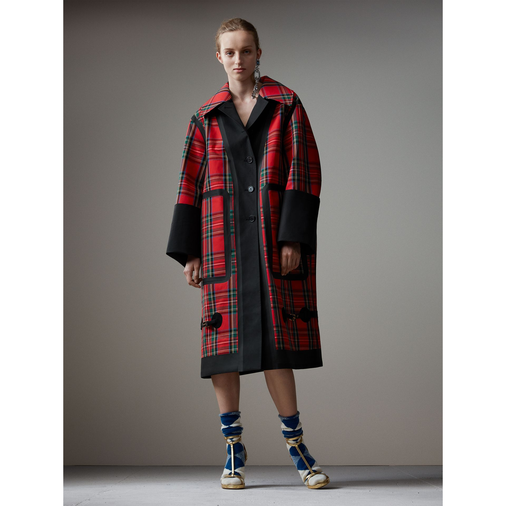 Tartan Bonded Cotton Seam-sealed Oversized Car Coat in Black - Women | Burberry - gallery image 0